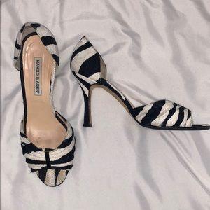 Manila Blahnik zebra heels